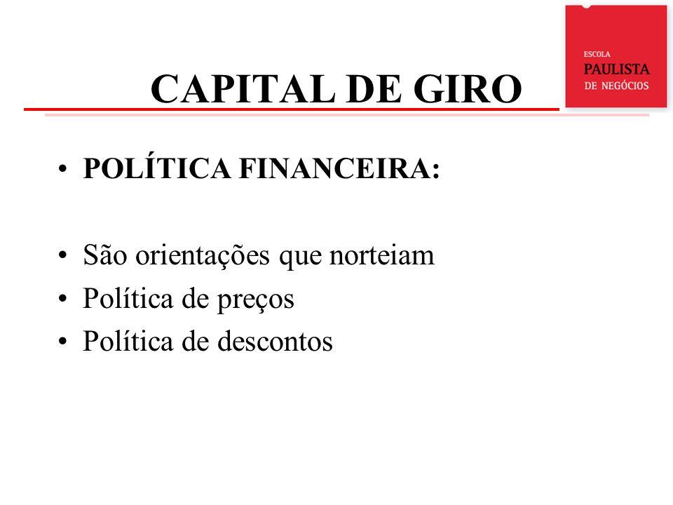 CAPITAL DE GIRO POLÍTICA FINANCEIRA: São orientações que norteiam Política de preços Política de descontos