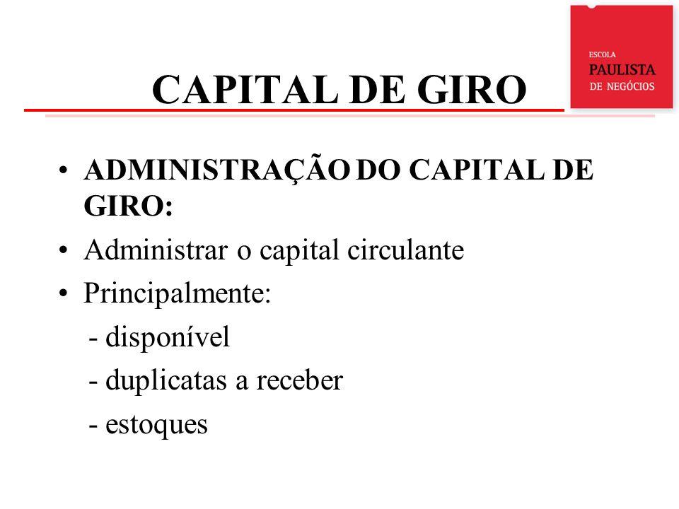 CAPITAL DE GIRO ADMINISTRAÇÃO DO DISPONÍVEL - são ativos em dinheiro ou liquidez imediata: - valores em moeda corrente - saldos bancários - aplicações com liquidez imediata - aplicações a médio e longo prazos