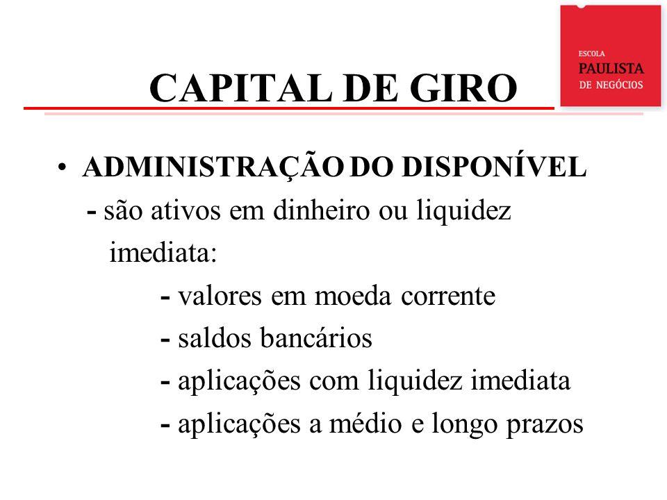 CAPITAL DE GIRO ADMINISTRAÇÃO DO DISPONÍVEL - são ativos em dinheiro ou liquidez imediata: - valores em moeda corrente - saldos bancários - aplicações