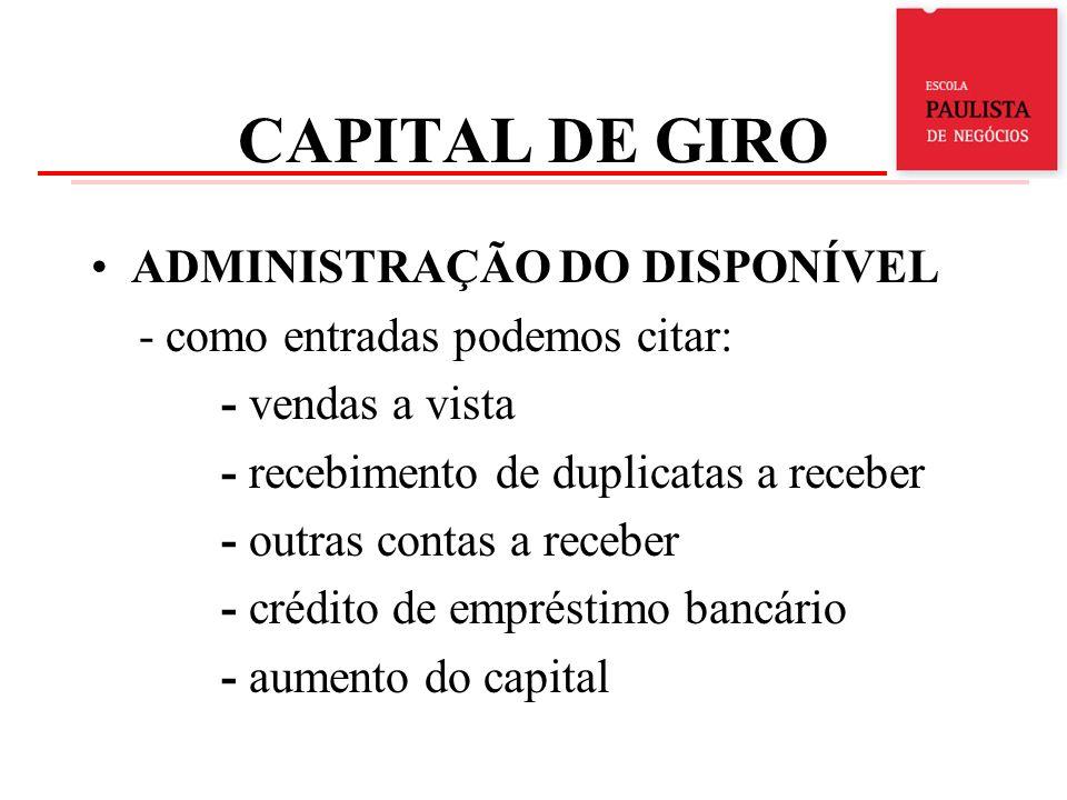 CAPITAL DE GIRO ADMINISTRAÇÃO DO DISPONÍVEL - como saídas podemos citar: - pagamentos de despesas - pagamento de fornecedores - pagamento de empréstimos - aquisição de ativos - despesas de terceiros - pagamento de dividendos