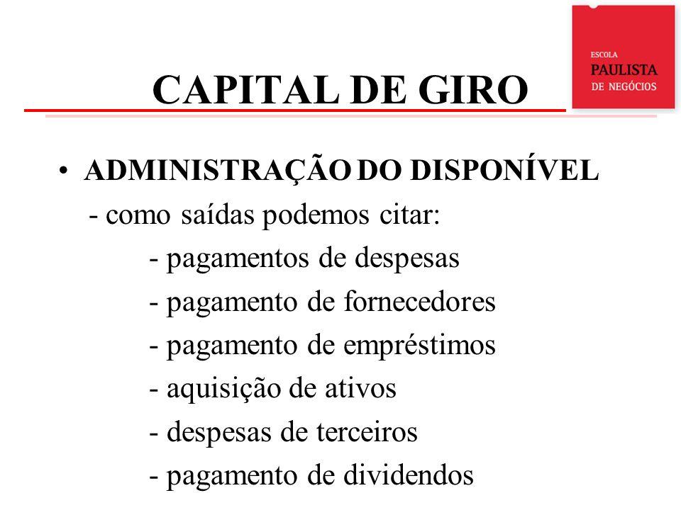 CAPITAL DE GIRO ADMINISTRAÇÃO DO DISPONÍVEL - como saídas podemos citar: - pagamentos de despesas - pagamento de fornecedores - pagamento de empréstim