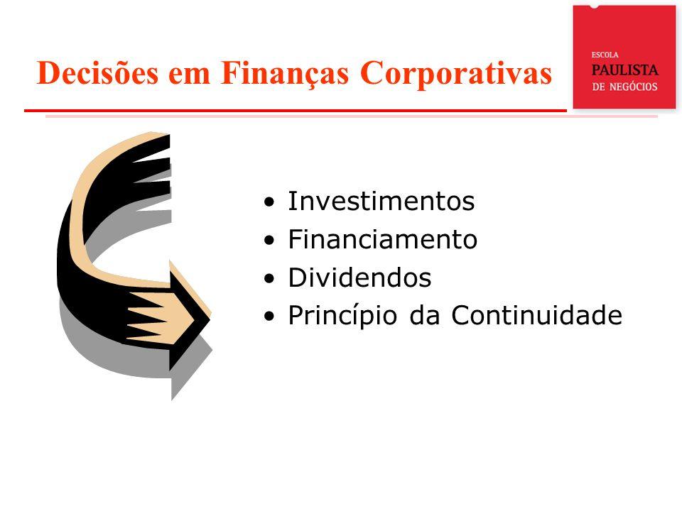 Decisões em Finanças Corporativas Investimentos Financiamento Dividendos Princípio da Continuidade