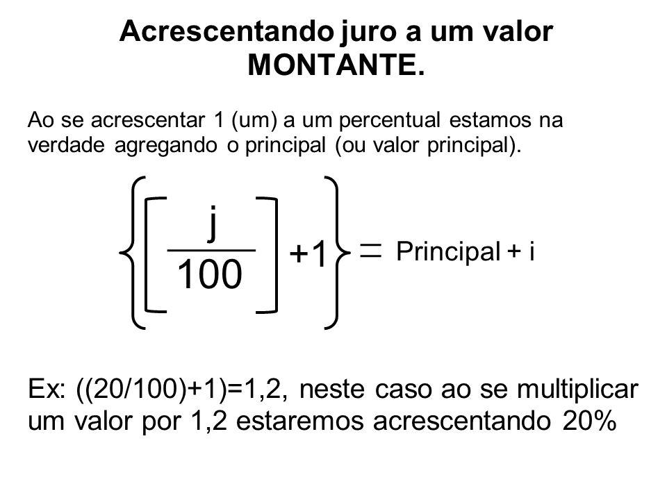 Acrescentando juro a um valor MONTANTE. Ao se acrescentar 1 (um) a um percentual estamos na verdade agregando o principal (ou valor principal). j 100