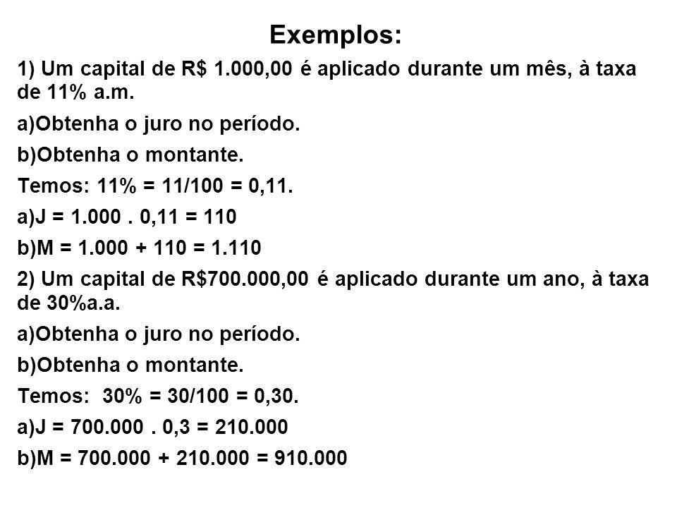 Exemplos: 1) Um capital de R$ 1.000,00 é aplicado durante um mês, à taxa de 11% a.m. a)Obtenha o juro no período. b)Obtenha o montante. Temos: 11% = 1