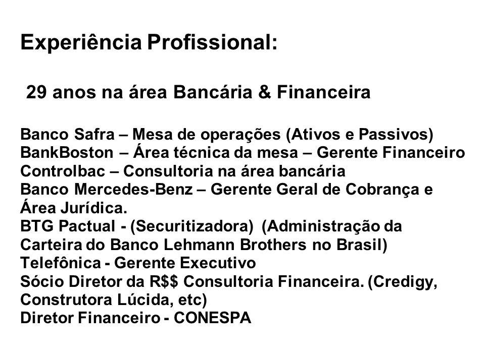 Experiência Profissional: 29 anos na área Bancária & Financeira Banco Safra – Mesa de operações (Ativos e Passivos) BankBoston – Área técnica da mesa