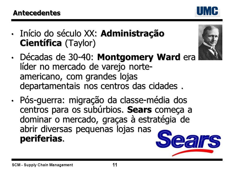 SCM - Supply Chain Management 11 Início do século XX: Administração Científica (Taylor) Início do século XX: Administração Científica (Taylor) Décadas