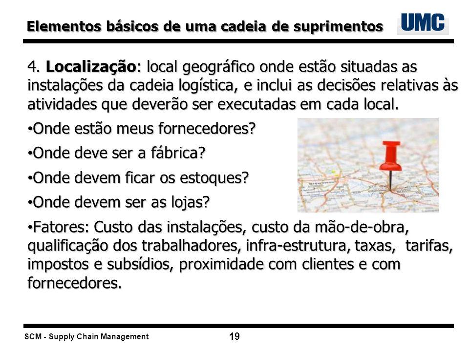 SCM - Supply Chain Management 19 4. Localização: local geográfico onde estão situadas as instalações da cadeia logística, e inclui as decisões relativ