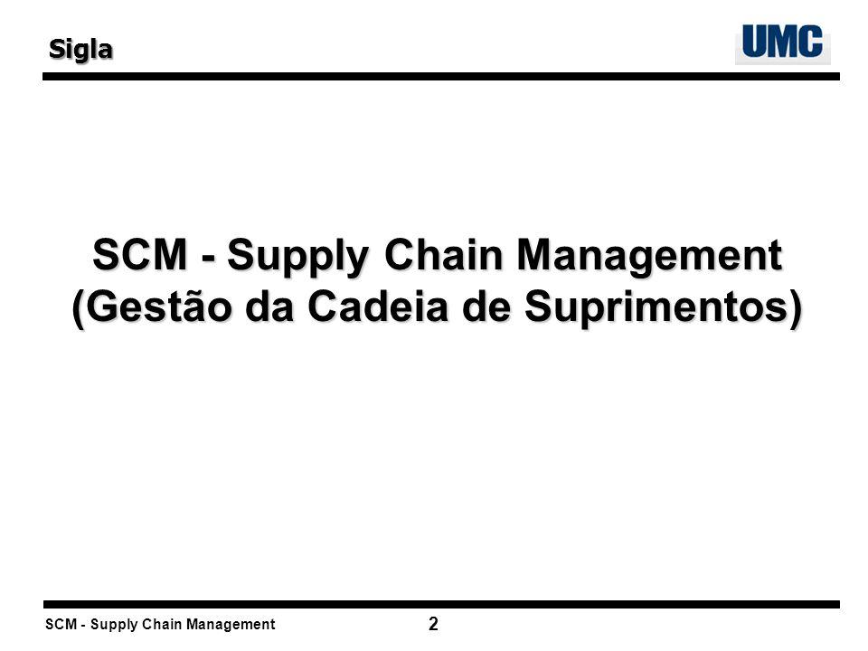 SCM - Supply Chain Management 2 SCM - Supply Chain Management (Gestão da Cadeia de Suprimentos) Sigla
