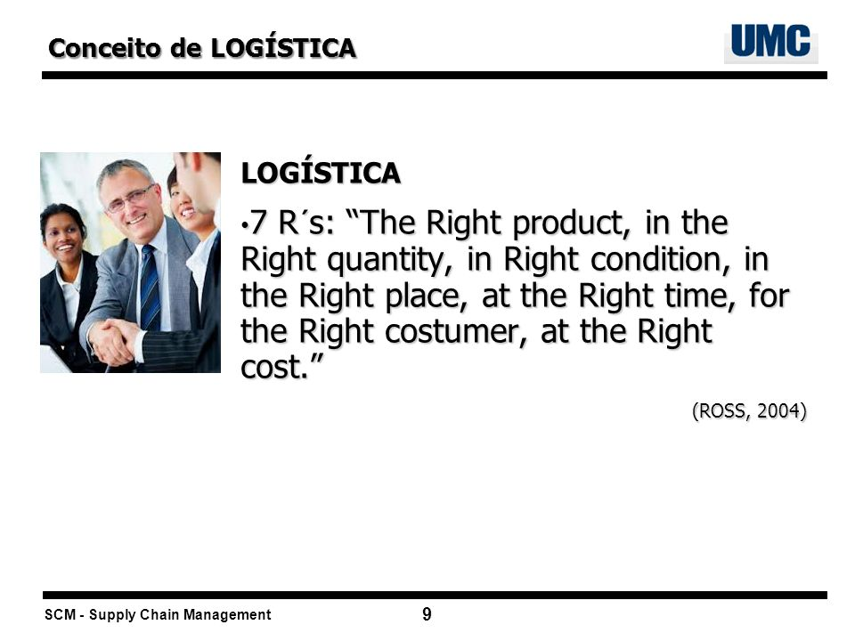 SCM - Supply Chain Management 9 LOGÍSTICA 7 R´s: The Right product, in the Right quantity, in Right condition, in the Right place, at the Right time,