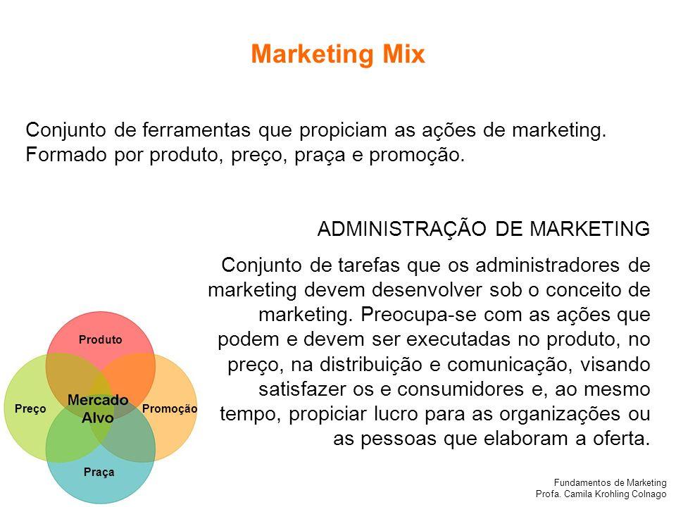Fundamentos de Marketing Profa. Camila Krohling Colnago Produto PreçoPromoção Praça Conjunto de ferramentas que propiciam as ações de marketing. Forma