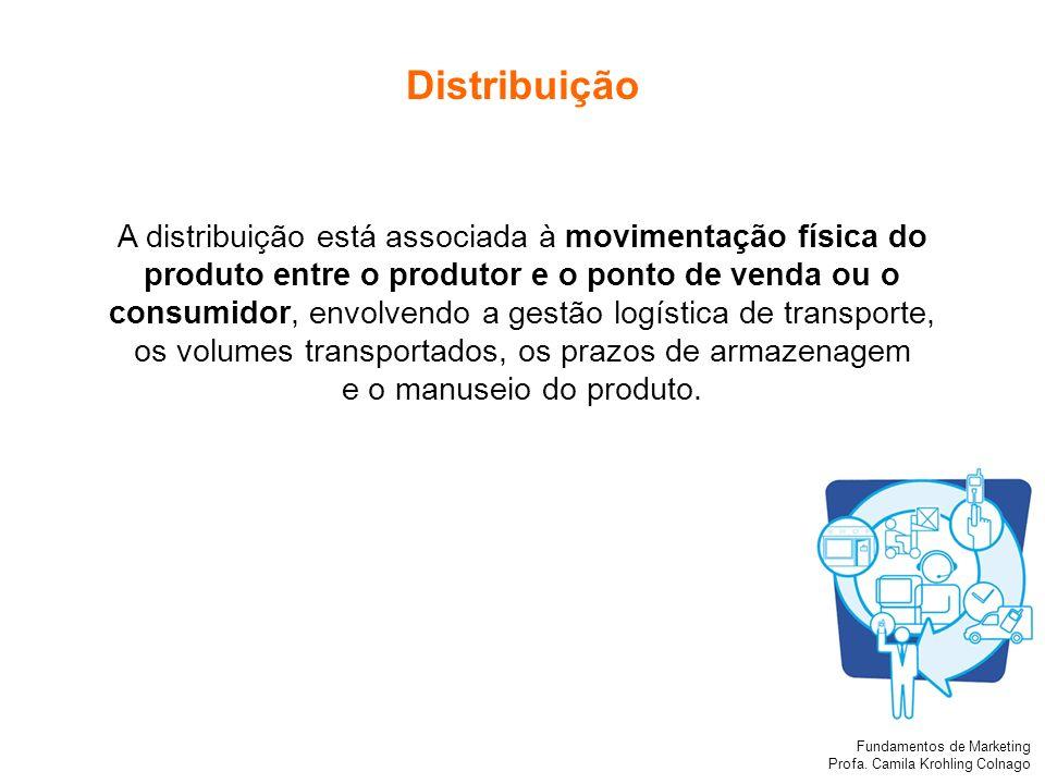 Fundamentos de Marketing Profa. Camila Krohling Colnago Distribuição A distribuição está associada à movimentação física do produto entre o produtor e