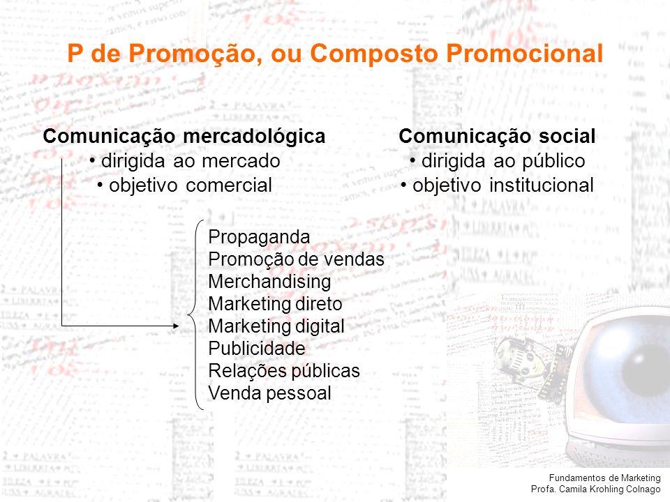 Fundamentos de Marketing Profa. Camila Krohling Colnago P de Promoção, ou Composto Promocional Comunicação social dirigida ao público objetivo institu