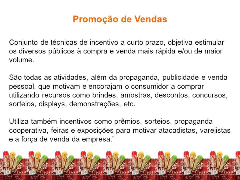 Fundamentos de Marketing Profa. Camila Krohling Colnago Promoção de Vendas Conjunto de técnicas de incentivo a curto prazo, objetiva estimular os dive