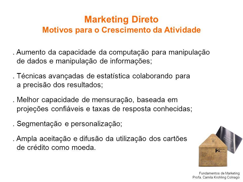 Fundamentos de Marketing Profa. Camila Krohling Colnago Marketing Direto Motivos para o Crescimento da Atividade. Aumento da capacidade da computação