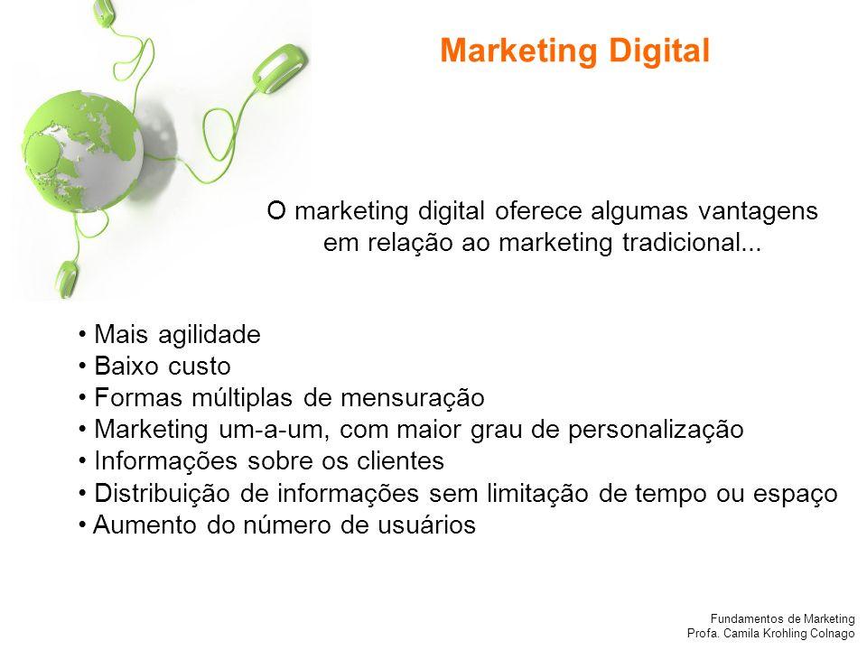 Fundamentos de Marketing Profa. Camila Krohling Colnago Mais agilidade Baixo custo Formas múltiplas de mensuração Marketing um-a-um, com maior grau de