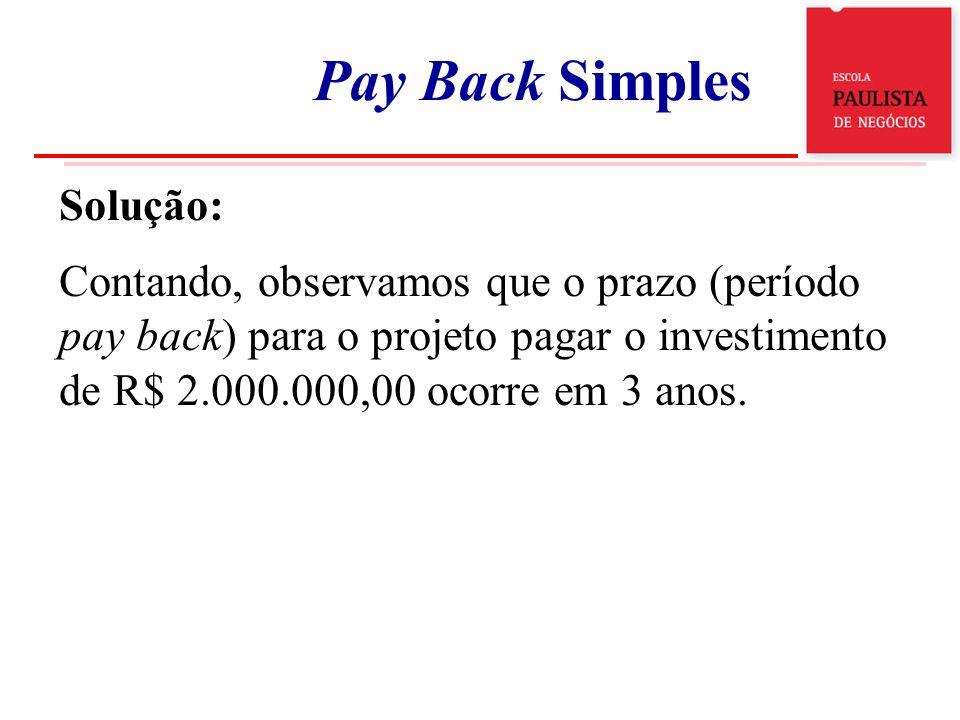 Solução: Contando, observamos que o prazo (período pay back) para o projeto pagar o investimento de R$ 2.000.000,00 ocorre em 3 anos. Exemplo 1 Pay Ba