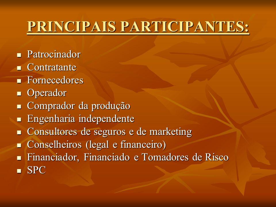PRINCIPAIS PARTICIPANTES: Patrocinador Patrocinador Contratante Contratante Fornecedores Fornecedores Operador Operador Comprador da produção Comprado
