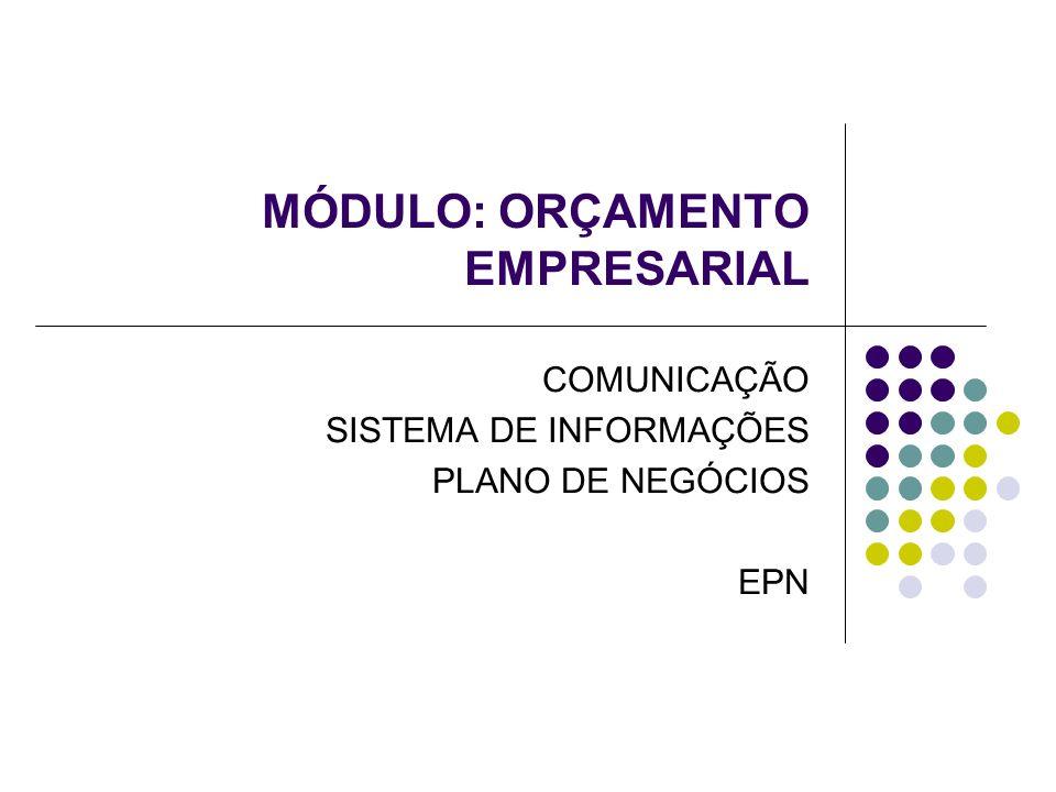 MÓDULO: ORÇAMENTO EMPRESARIAL COMUNICAÇÃO SISTEMA DE INFORMAÇÕES PLANO DE NEGÓCIOS EPN