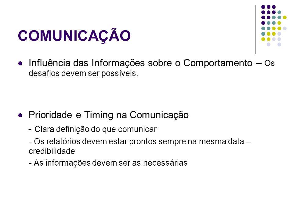 COMUNICAÇÃO Influência das Informações sobre o Comportamento – Os desafios devem ser possíveis. Prioridade e Timing na Comunicação - Clara definição d