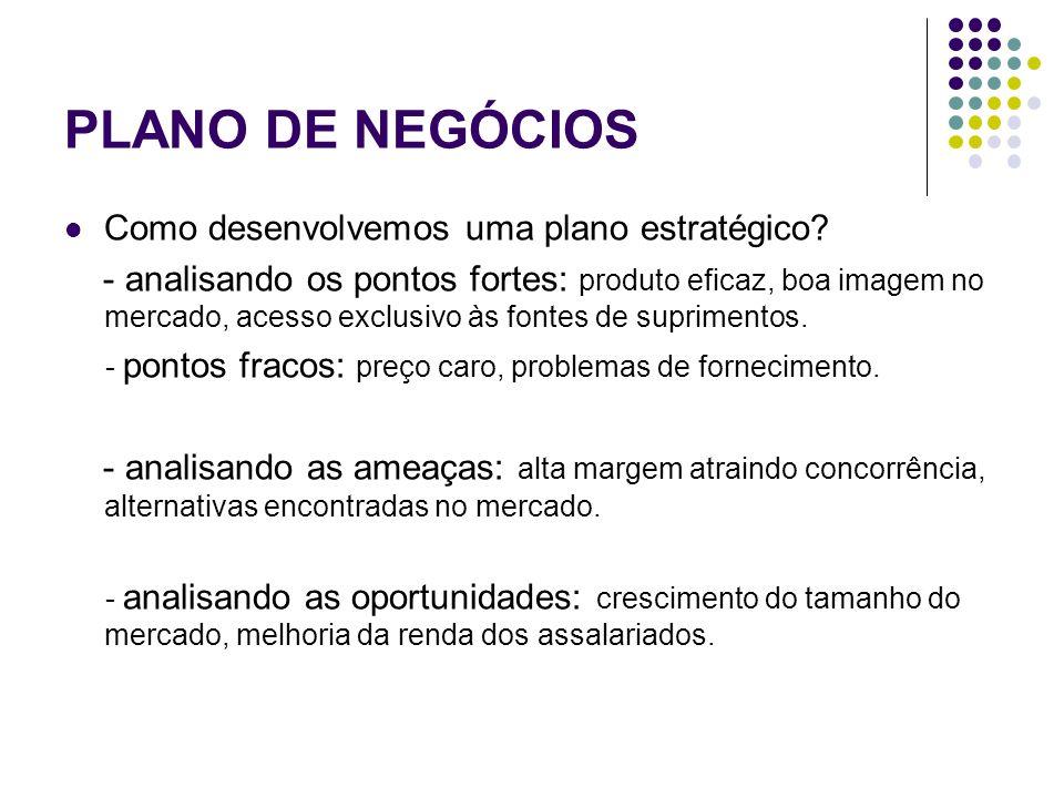 PLANO DE NEGÓCIOS Como desenvolvemos uma plano estratégico? - analisando os pontos fortes: produto eficaz, boa imagem no mercado, acesso exclusivo às