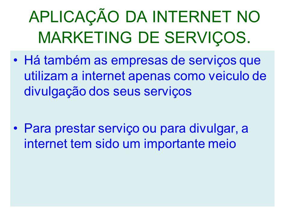 APLICAÇÃO DA INTERNET NO MARKETING DE SERVIÇOS.