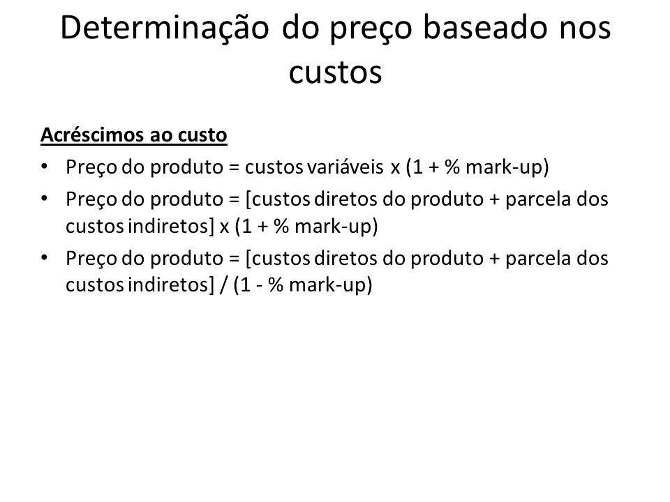 Determinação do preço baseado nos custos Acréscimos ao custo Preço do produto = custos variáveis x (1 + % mark-up) Preço do produto = [custos diretos