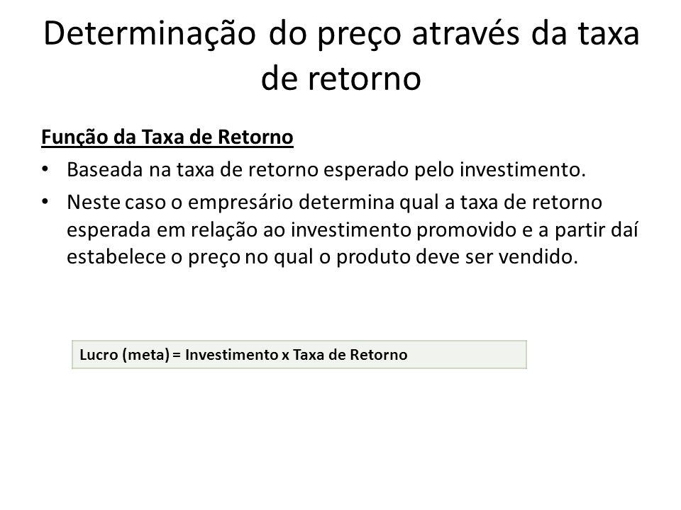 Determinação do preço através da taxa de retorno Função da Taxa de Retorno Baseada na taxa de retorno esperado pelo investimento. Neste caso o empresá