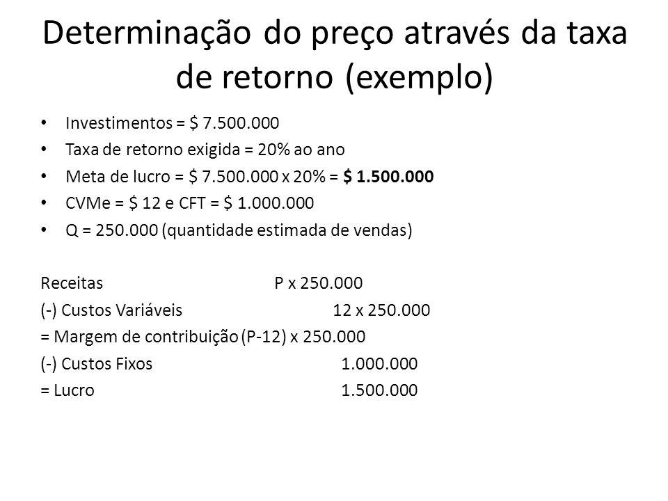 Determinação do preço através da taxa de retorno (exemplo) Investimentos = $ 7.500.000 Taxa de retorno exigida = 20% ao ano Meta de lucro = $ 7.500.00