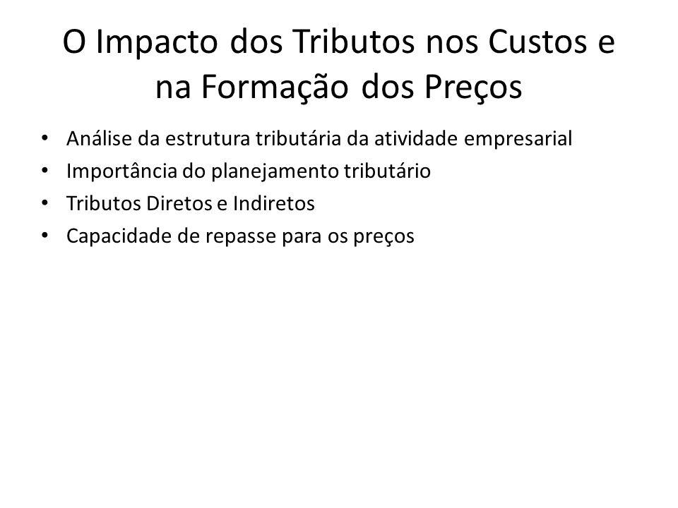 O Impacto dos Tributos nos Custos e na Formação dos Preços Análise da estrutura tributária da atividade empresarial Importância do planejamento tribut
