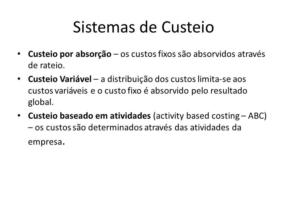 Sistemas de Custeio Custeio por absorção – os custos fixos são absorvidos através de rateio. Custeio Variável – a distribuição dos custos limita-se ao