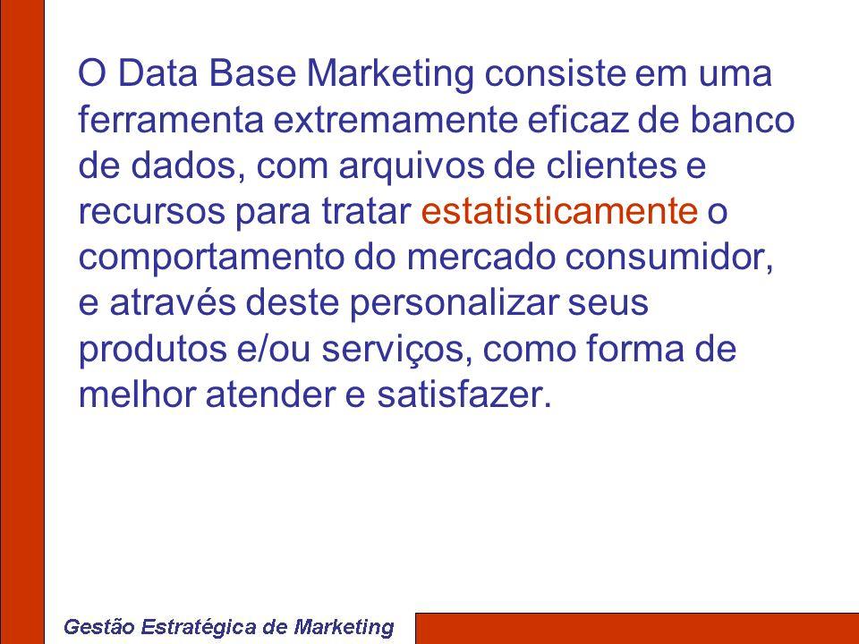 O Data Base Marketing consiste em uma ferramenta extremamente eficaz de banco de dados, com arquivos de clientes e recursos para tratar estatisticamen