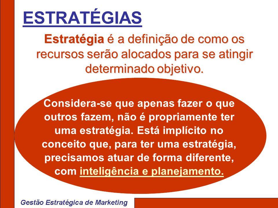 ESTRATÉGIAS Estratégia é a definição de como os recursos serão alocados para se atingir determinado objetivo. Estratégia é a definição de como os recu
