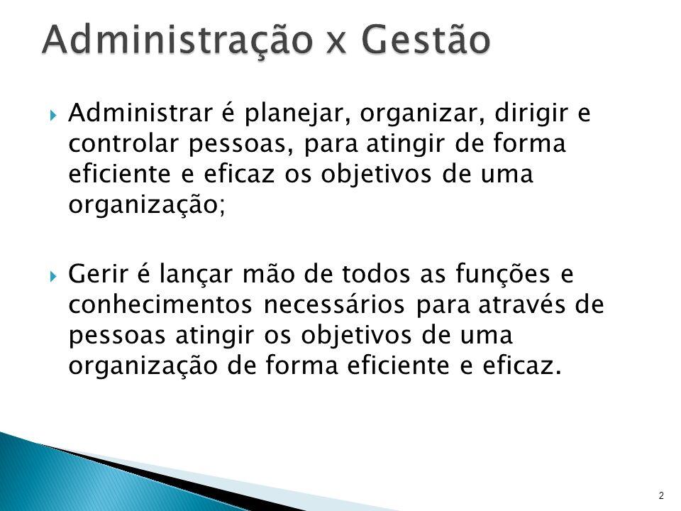 Administrar é planejar, organizar, dirigir e controlar pessoas, para atingir de forma eficiente e eficaz os objetivos de uma organização; Gerir é lanç