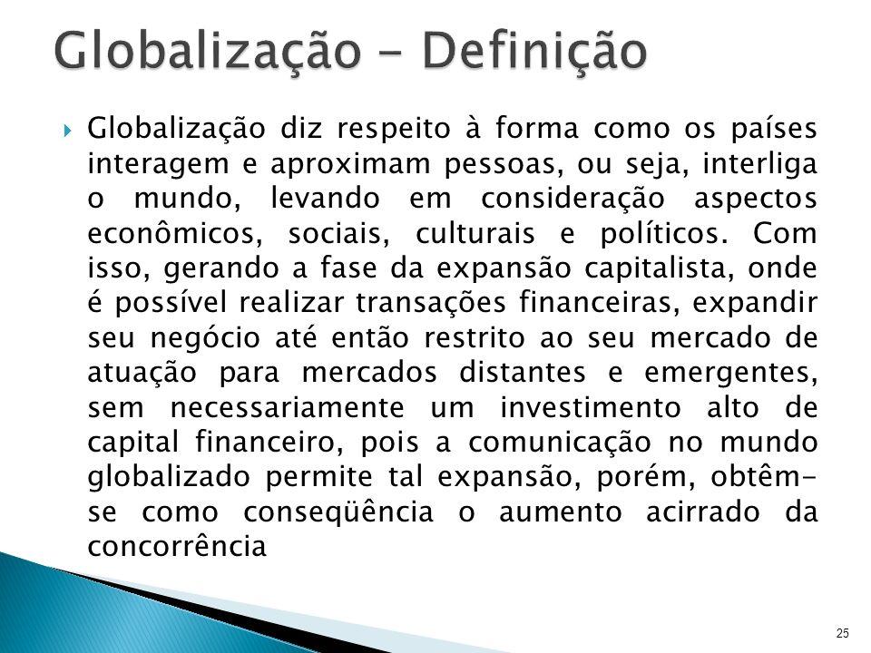 25 Globalização diz respeito à forma como os países interagem e aproximam pessoas, ou seja, interliga o mundo, levando em consideração aspectos econôm