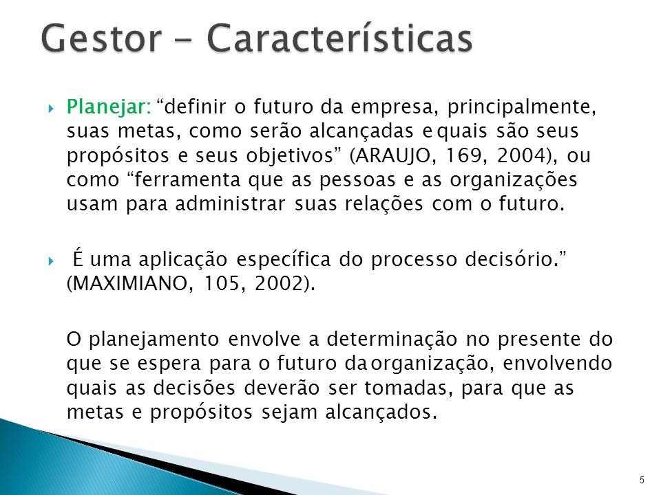 Planejar: definir o futuro da empresa, principalmente, suas metas, como serão alcançadas equais são seus propósitos e seus objetivos (ARAUJO, 169, 200