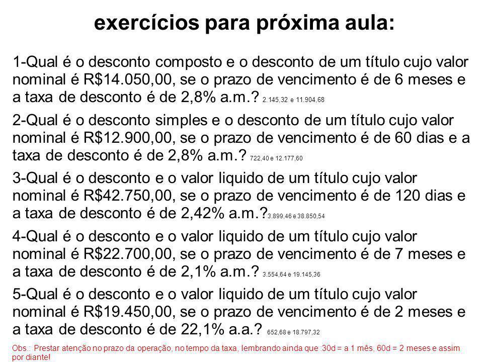 exercícios para próxima aula: 1-Qual é o desconto composto e o desconto de um título cujo valor nominal é R$14.050,00, se o prazo de vencimento é de 6