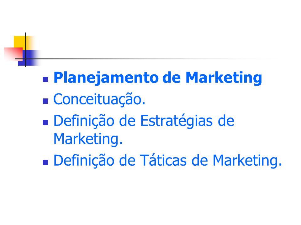 Planejamento de Marketing Conceituação. Definição de Estratégias de Marketing. Definição de Táticas de Marketing.