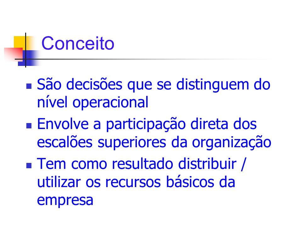 Conceito São decisões que se distinguem do nível operacional Envolve a participação direta dos escalões superiores da organização Tem como resultado d