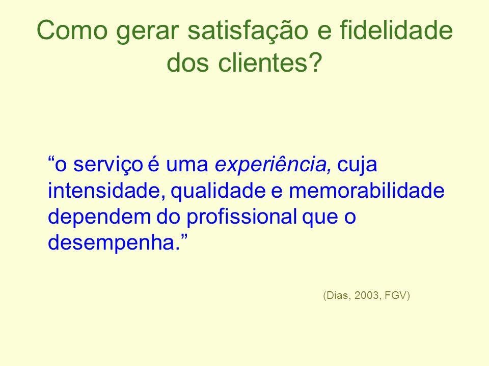 Como gerar satisfação e fidelidade dos clientes? o serviço é uma experiência, cuja intensidade, qualidade e memorabilidade dependem do profissional qu