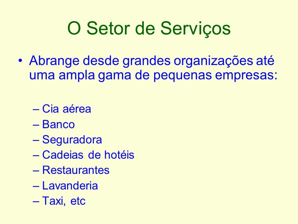 O Setor de Serviços Abrange desde grandes organizações até uma ampla gama de pequenas empresas: –Cia aérea –Banco –Seguradora –Cadeias de hotéis –Rest