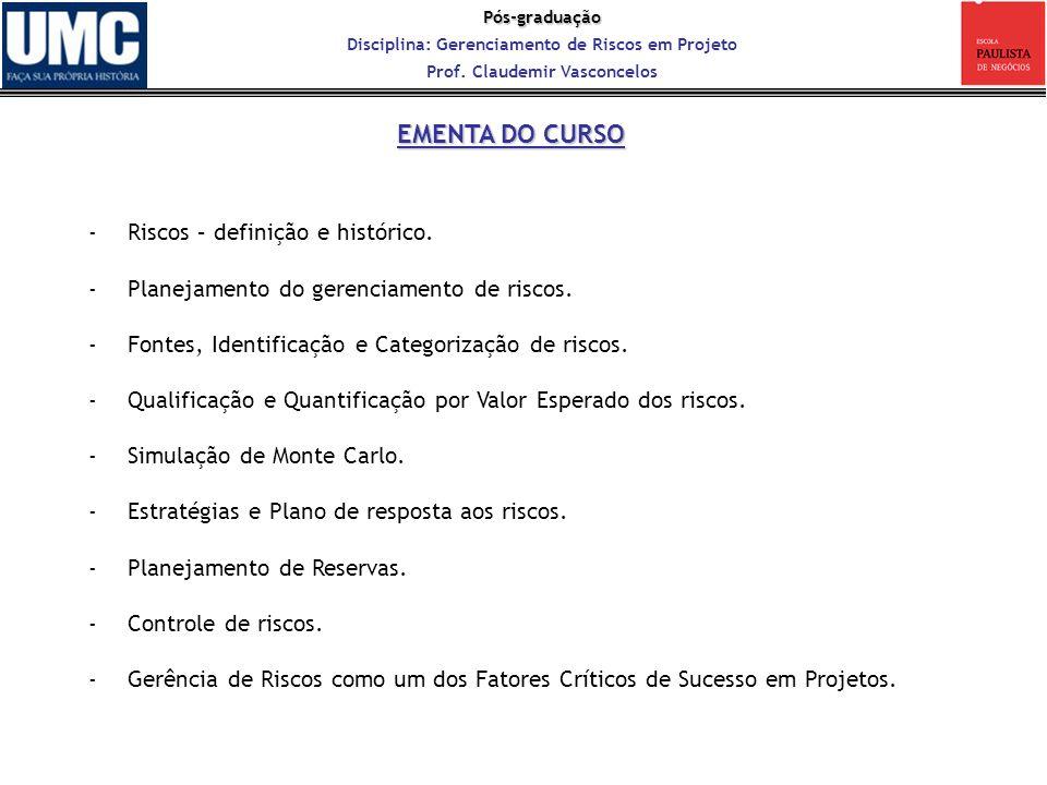 Pós-graduação Disciplina: Gerenciamento de Riscos em Projeto Prof. Claudemir Vasconcelos -Riscos – definição e histórico. -Planejamento do gerenciamen