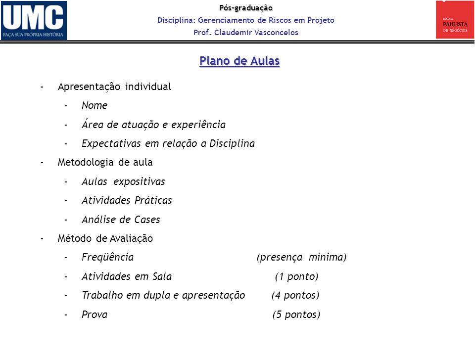 Pós-graduação Disciplina: Gerenciamento de Riscos em Projeto Prof. Claudemir Vasconcelos Plano de Aulas -Apresentação individual -Nome -Área de atuaçã