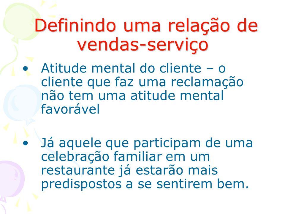 Definindo uma relação de vendas-serviço Definindo uma relação de vendas-serviço Atitude mental do cliente – o cliente que faz uma reclamação não tem u