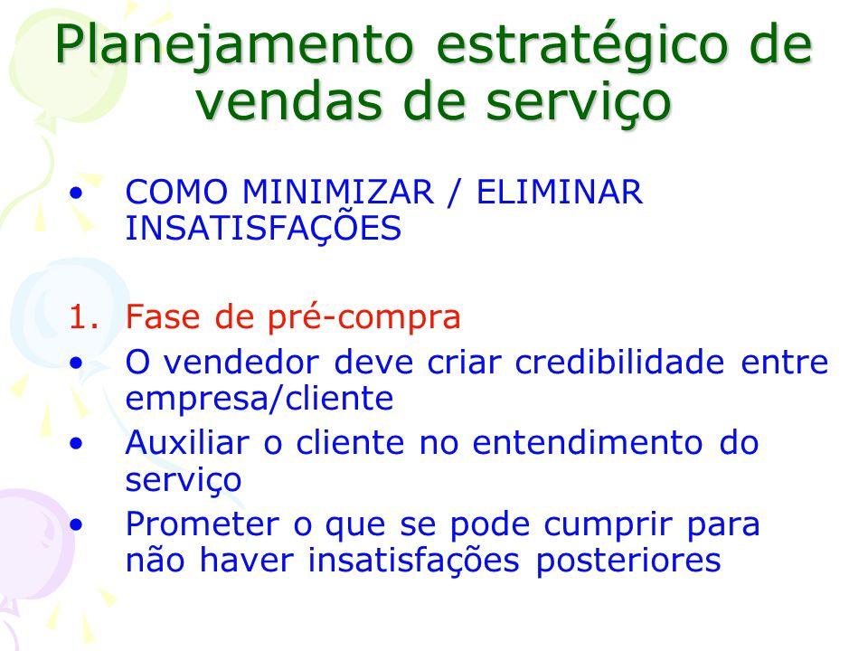 Planejamento estratégico de vendas de serviço COMO MINIMIZAR / ELIMINAR INSATISFAÇÕES 1.Fase de pré-compra O vendedor deve criar credibilidade entre e