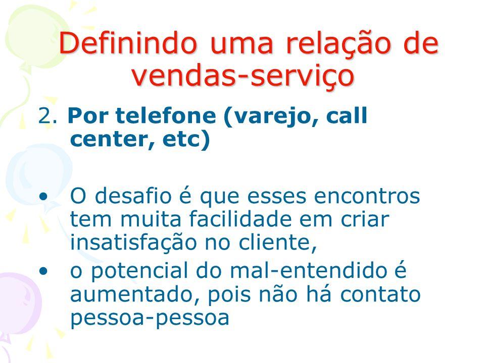 Definindo uma relação de vendas-serviço Definindo uma relação de vendas-serviço 2. Por telefone (varejo, call center, etc) O desafio é que esses encon