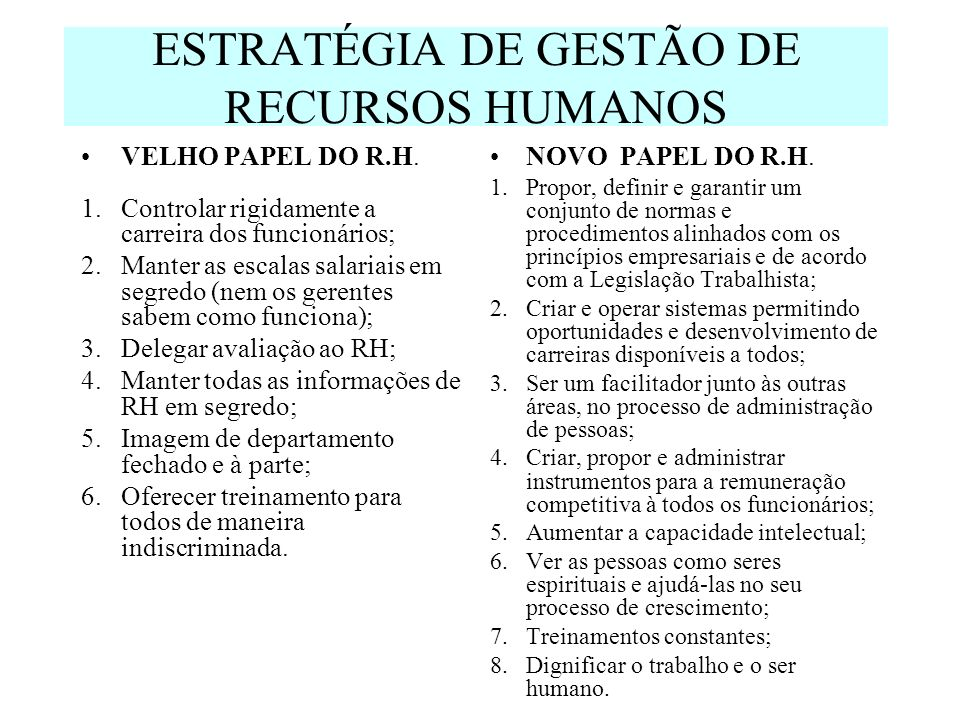 ESTRATÉGIA DE GESTÃO DE RECURSOS HUMANOS VELHO PAPEL DO R.H. 1.Controlar rigidamente a carreira dos funcionários; 2.Manter as escalas salariais em seg