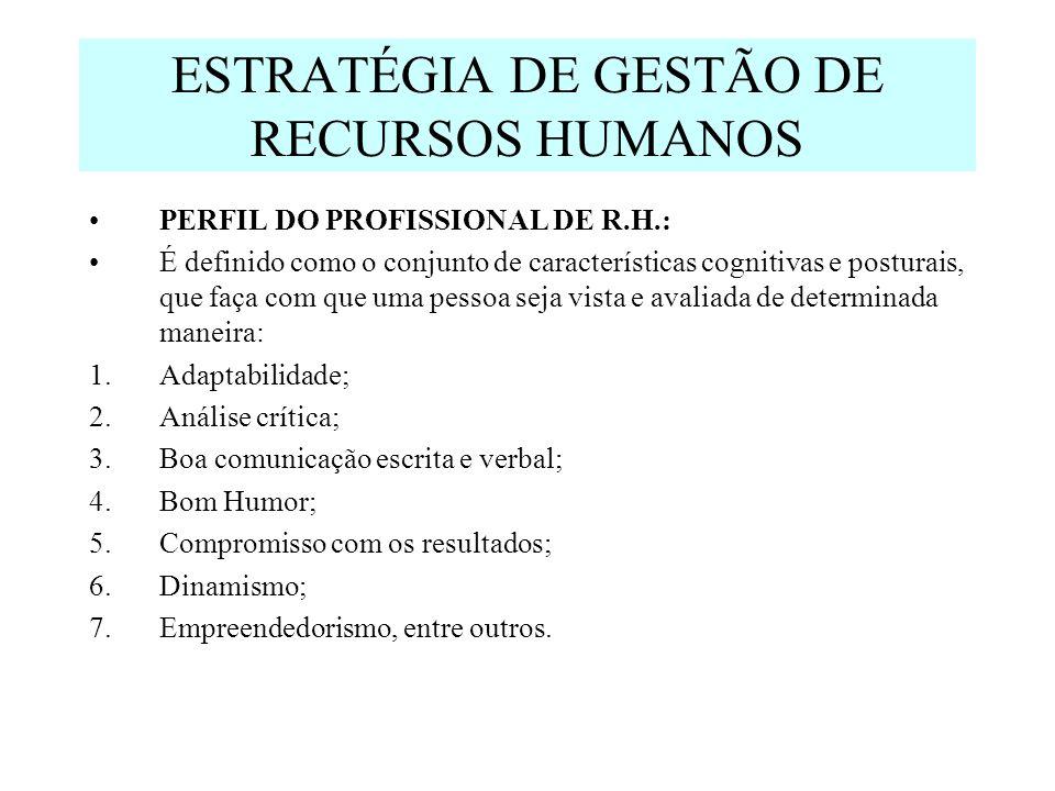 ESTRATÉGIA DE GESTÃO DE RECURSOS HUMANOS PERFIL DO PROFISSIONAL DE R.H.: É definido como o conjunto de características cognitivas e posturais, que faça com que uma pessoa seja vista e avaliada de determinada maneira: 1.Adaptabilidade; 2.Análise crítica; 3.Boa comunicação escrita e verbal; 4.Bom Humor; 5.Compromisso com os resultados; 6.Dinamismo; 7.Empreendedorismo, entre outros.