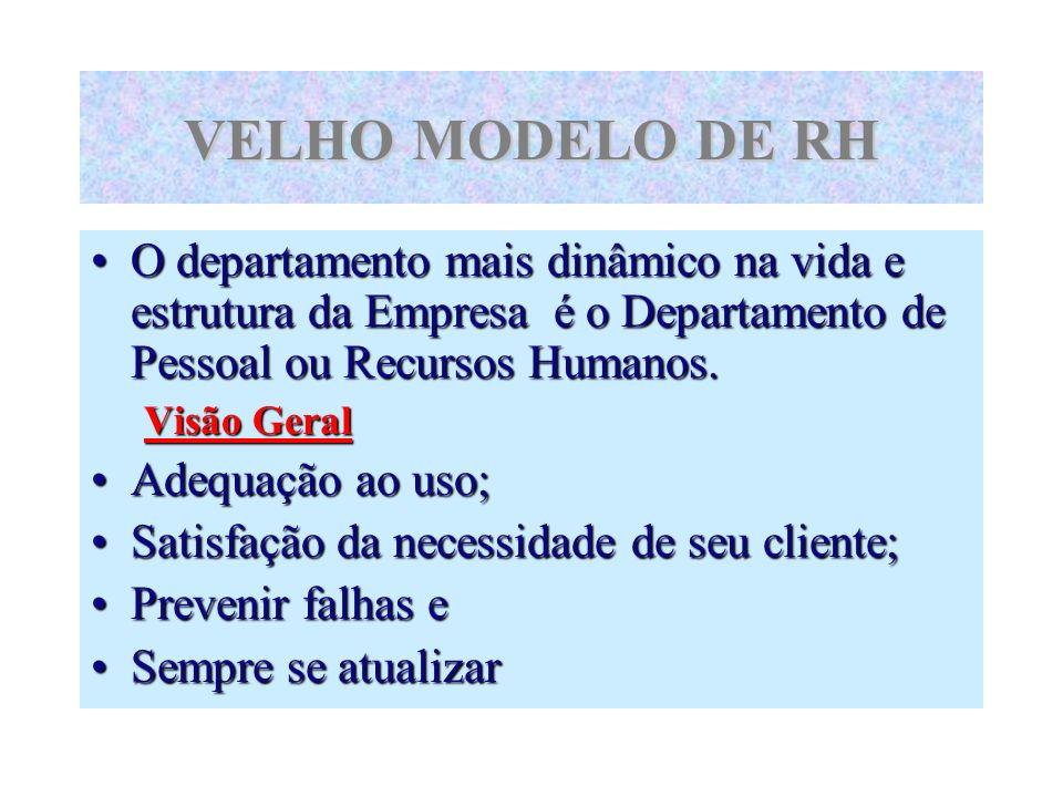 VELHO MODELO DE RH O departamento mais dinâmico na vida e estrutura da Empresa é o Departamento de Pessoal ou Recursos Humanos. Visão Geral Adequação