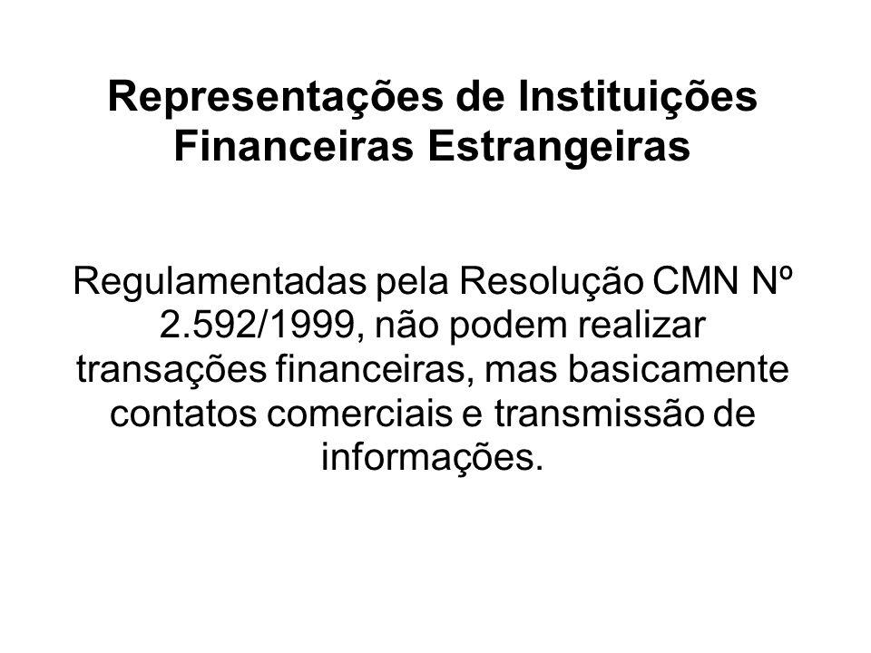 Representações de Instituições Financeiras Estrangeiras Regulamentadas pela Resolução CMN Nº 2.592/1999, não podem realizar transações financeiras, ma
