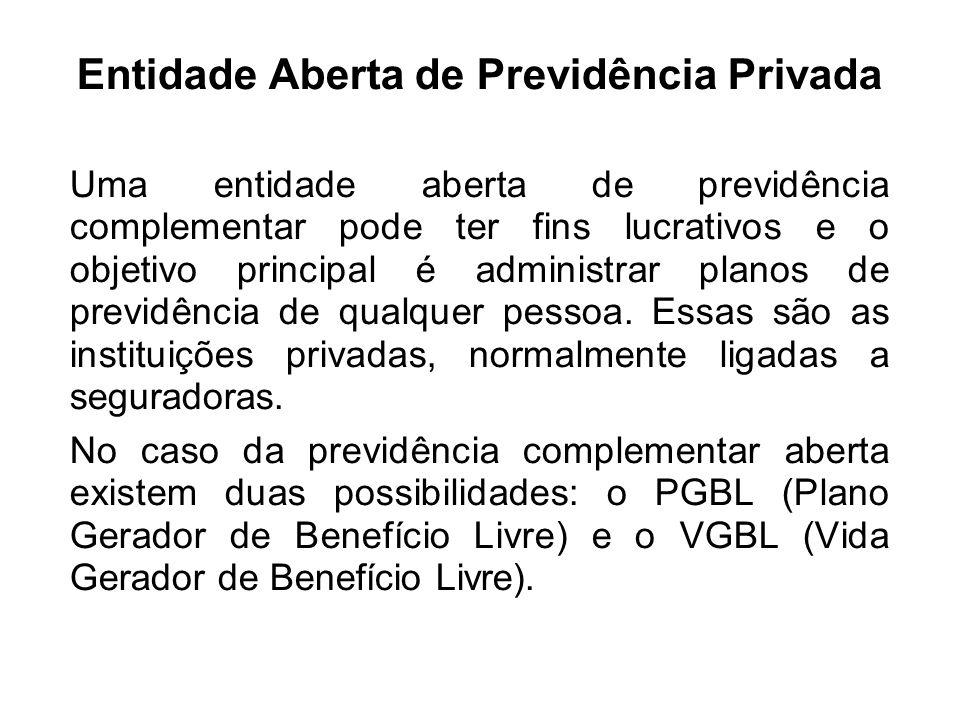 Entidade Aberta de Previdência Privada Uma entidade aberta de previdência complementar pode ter fins lucrativos e o objetivo principal é administrar p